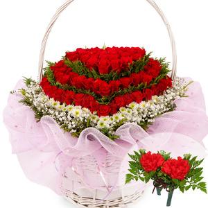 꽃바구니장미70송이+코사지2개(꽃행복333호)