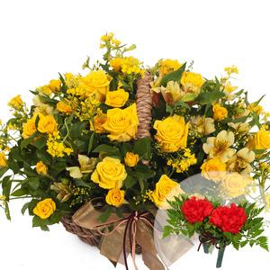 유채꽃장미바구니2(코사지2개무료)