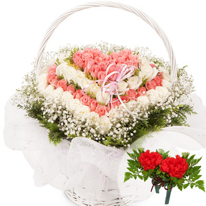 분홍백장미하트바구니(코사지2개무료)