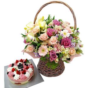 케익+꽃바구니6호